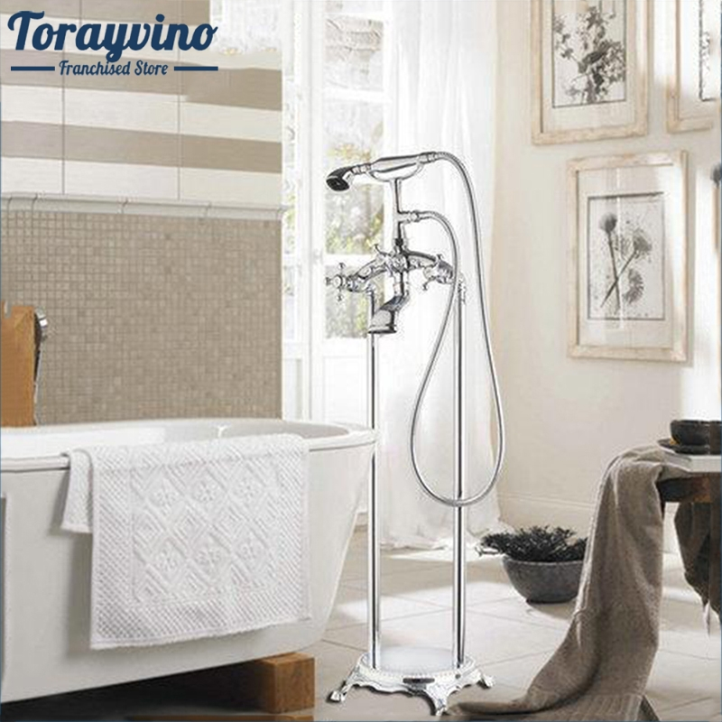 Torayvino Bathtub Torneira Bathroom Chrome Floor Mounted Shower Set Double Handles Vessel Vanity Basin Sink Faucet Mixer Tap