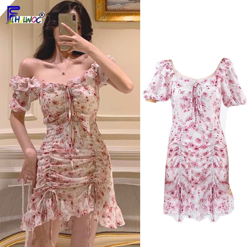 Sexy Mini Dresses Hot Sales Woman Fashion Summer Off Shoulder Bow Tie Cute Ruffled Draped Korea Japan Club Sexy Dress 7524