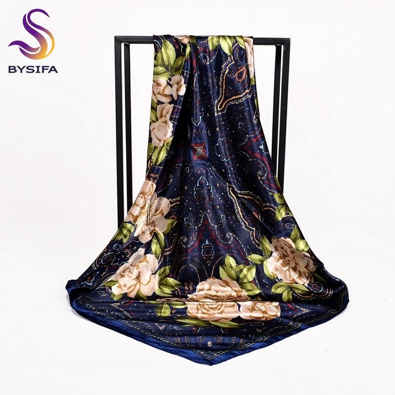 [BYSIFA] White Chinese Roses Women Silk Scarf Shawl