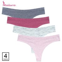 Wealurre 4Pcs Thongs Women Low Waist Seamless Invisible Seamless Underwear Ladies Panties Tangas Women Sexy Algodon Intimates