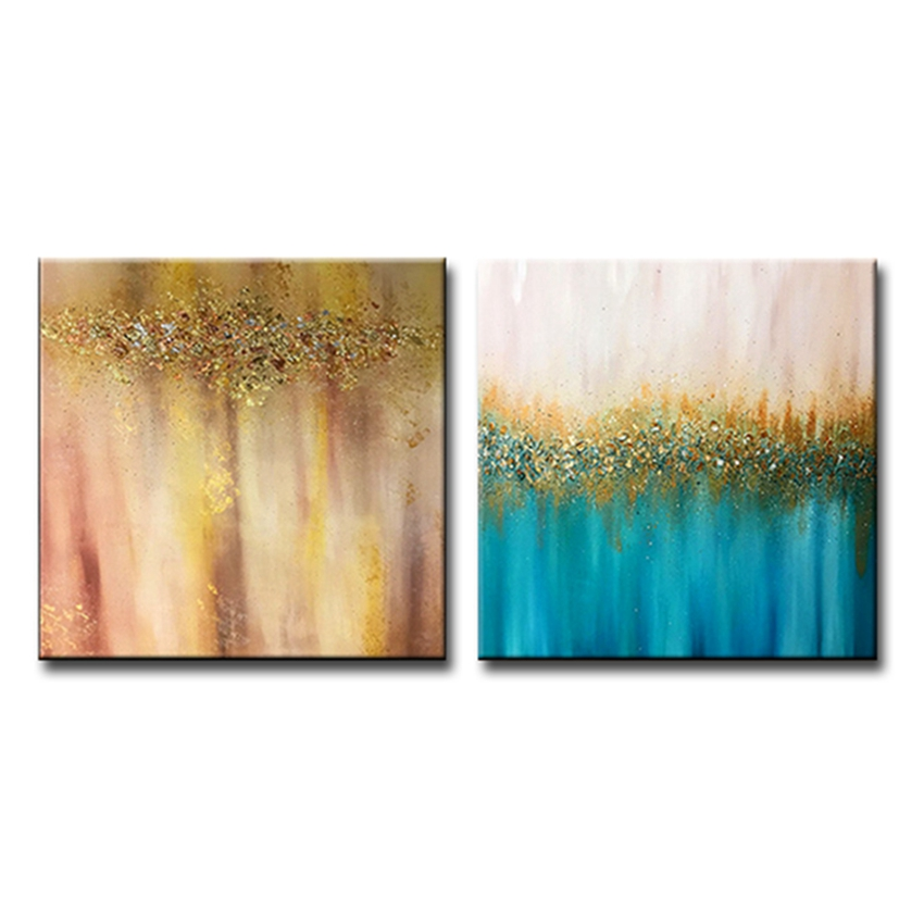 MYT 2 Panels Canvas Wall Art Modern Handmade Gold Oil Painting Living Room Decoration Pieces Unframed