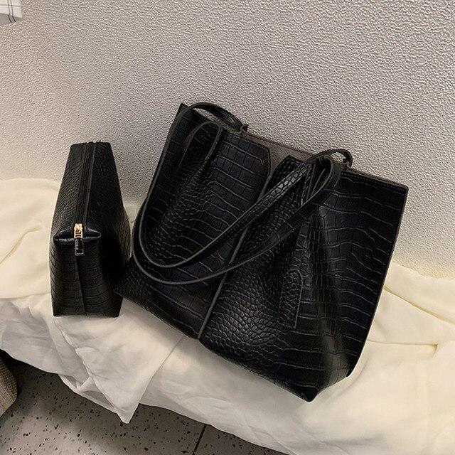 2 Piece Large Women Shoulder Bag Set Ruched Crocodile Alligator Composite Bag Big Capacity Female Handbag Shopping Traveling Bag
