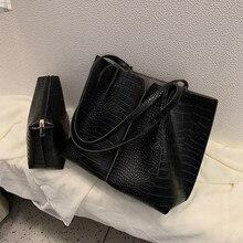 2 pezzi di Grandi Dimensioni Sacchetto di Spalla Delle Donne Set Increspato Coccodrillo Coccodrillo Composito Sacchetto di Grande Capacità Borsa Femminile Shopping Bag In Viaggio