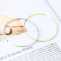 925 Sterling Silver Simple Smooth Open Bangle Women Charm Brand Jewelry Accessories Free Shipping (SB034)