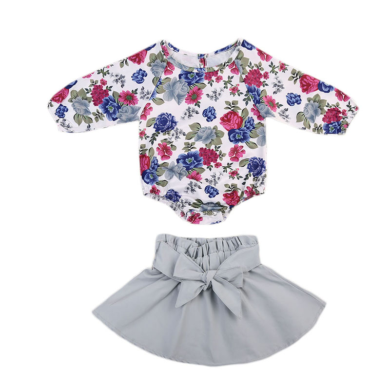 Cute Newborn Baby Girl Clothes Long Sleeve Floral Romper Tops+Bow Skirt 2PCS Infant Kids Princess Clothing Set 0-24M 2pcs children outfit clothes kids baby girl off shoulder cotton ruffled sleeve tops striped t shirt blue denim jeans sunsuit set