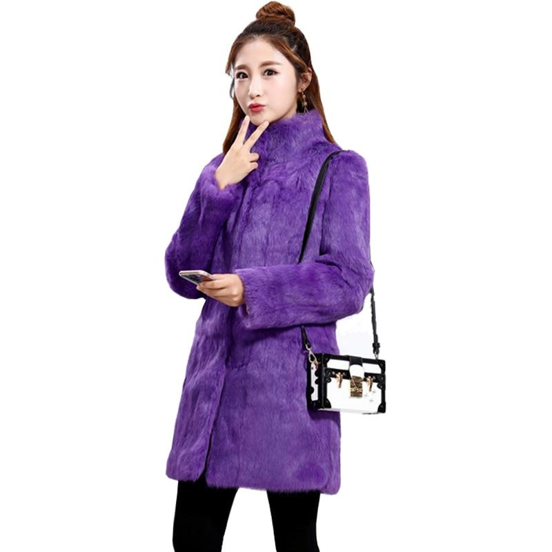 TopFurMall Lady Real Wholeskin Rabbit Fur Coat Jacket Mandarin Collar Winter Genuine Women Fur Outerwear Coats