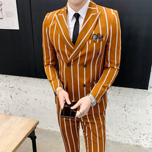 Slim Fit Suits 2 Piece Mens Wedding Groom Suit Ternos Masculinos Tunic Latest Coat Pant Designs Retro Stripe 2019