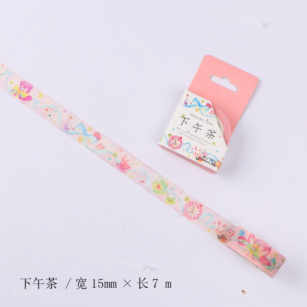 15mm Wide Dream Afternoon Tea Fairy Tale Fantasy Decoration Washi Tape DIY Planner Scrapbook Diary Masking Tape Escolar