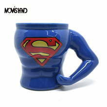 MOMS HAND 300 ML Superman Originalität Keramik Becher Muskel mann telefonkasten der Perfekte Figur Hochwertigen Kaffee Milch Tasse