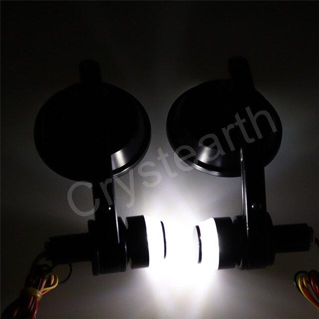 """22mm 7/8 """"uniwersalny okrągły 3"""" motocyklowe rogi do kierownicy rowerowej lusterka boczne z tyłu w/kierunkowskazy LED dla Honda Harley Cafe Racer"""