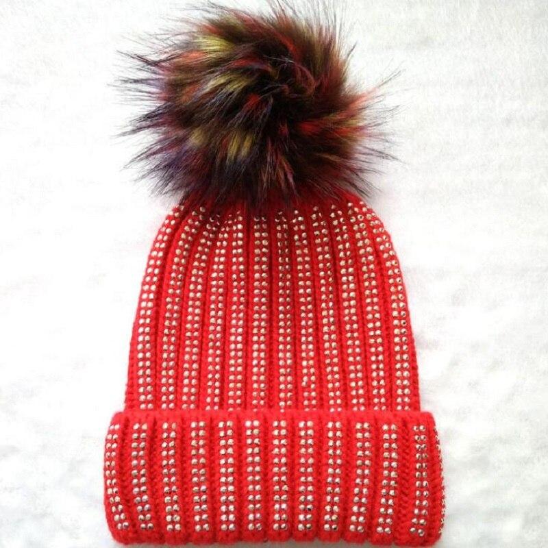 2017 new rhinestone knitted Skullies Beanies women autumn and winter hat with ball skullies