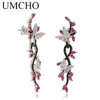 UMCHO 925 Sterling Silver Jewelry Butterfly Luxury Colorful Drop Earrings Romantic Special Gift For Women Fine