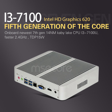 Без вентилятора Intel Core I3 7100U Mini PC Windows 10 Настольный компьютер NUC barebone системы неттоп kabylake HD620 Graphics 300 м Wi-Fi
