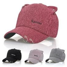 Casual pretty Cat ears Baseball Caps for Women's Snapback Letter Solid Color Iron Ring Cap Hats Girls Men Visor Hats Adjustable