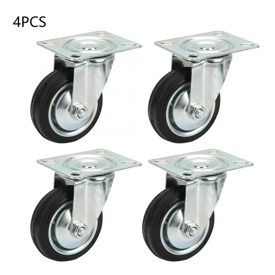 4pcs 3 Inch Swivel Top Plate Hooded Caster Rubber Wheel for Furniture Trolley roller cabinets furniture wheels in Casters from Home Improvement