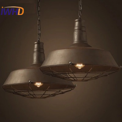 Loft Retro Industrial Hanging Lamp Antique Simple Lid Pendant Lights Iron Hanging Light Fixtures Edison Bulb Home Lighting mordern nordic retro edison bulb light chandelier vintage loft antique adjustable diy e27 art spider ceiling lamp fixture lights
