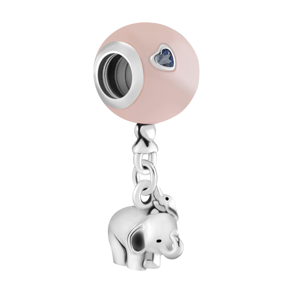Elephant & Pink Balloon Floating Charms Fit Silver 925 DIY Bracelets Women Heart CZ Crystal Charms for Jewelry Making