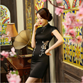 2017 Fashion Spring Summer Dress Silk Hand Embroidery Cheongsam Sexy Lace Hollow Out  Qipao Young Girl Party Dress ZA7120
