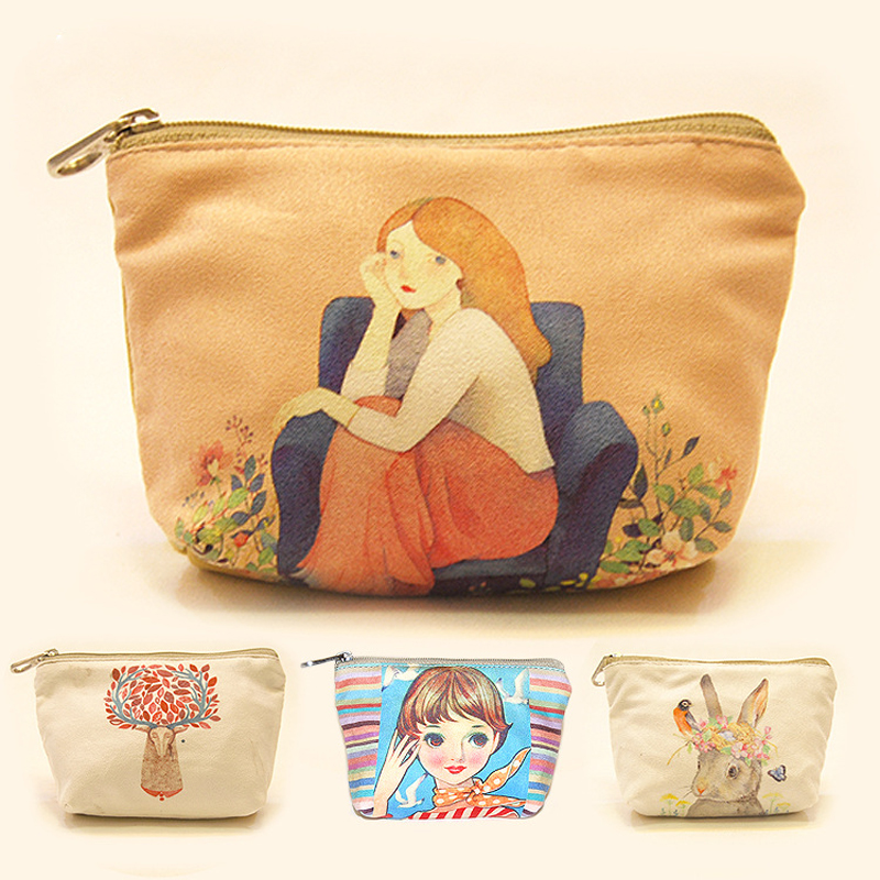 Children Cartoon Coin Purses Canvas Purse Zipper Cute Cartoon Printing Wallet Pouch Coin Handbag Case