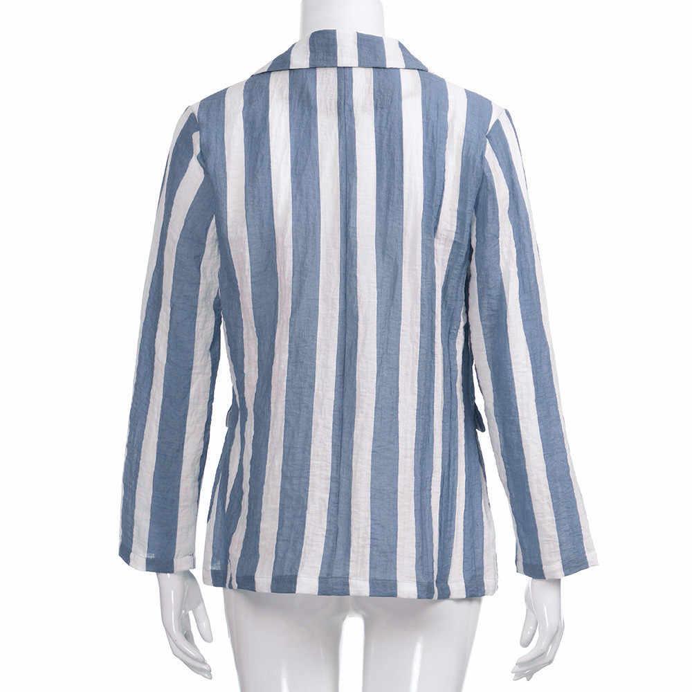 KANCOOLD/весенне-осенняя Женская Офисная Базовая куртка с длинными рукавами, повседневный полосатый кардиган, костюм, пальто, верхняя одежда, пальто PJ0907