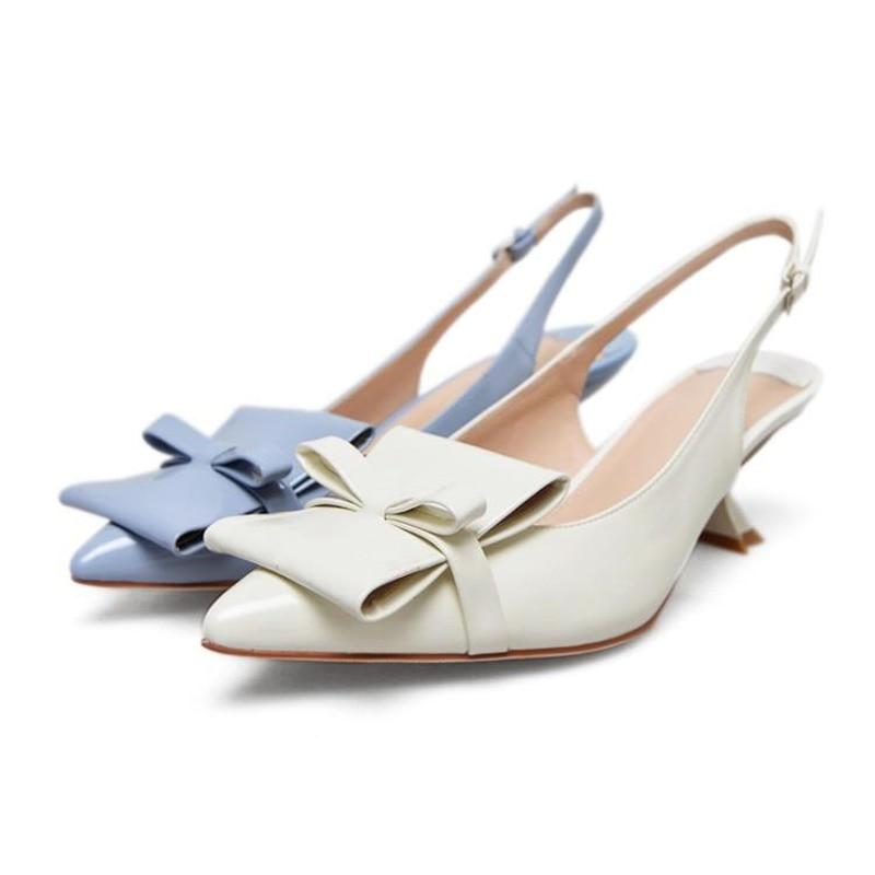 Chaussures Pompes Bleu À Clair D'été Chaton Femmes En Slingback Cuir Femme Dames Bowknot Talon Knsvvli Sandales Talons Blue Pointu Hauts Verni light Beige A7HpwWFq