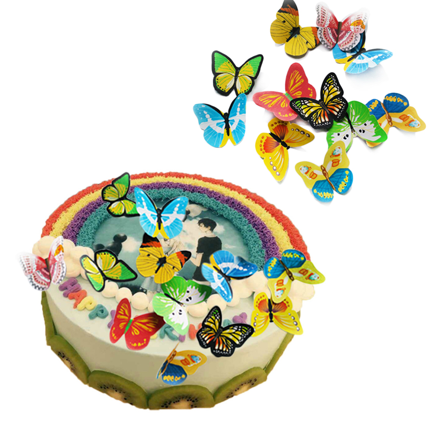 Image 4 - 42pcs/lot Mixed Butterfly Edible Glutinous Wafer Rice Paper Cake Toppers For Cake Decoration Birthday Wedding Cake Tools-in Other Cake Tools from Home & Garden