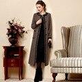 2017 Inverno Mulheres Plus Size de Alta Qualidade De Lã Trincheira Outerwear Fino Casaco de Lã Ocasional Projeto Longo Trench Coat Para As Mulheres