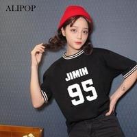 ALIPOP KPOP BTS Bangtan Boys Album Shirts K POP 2016 Casual White Black Tshirt T Shirt