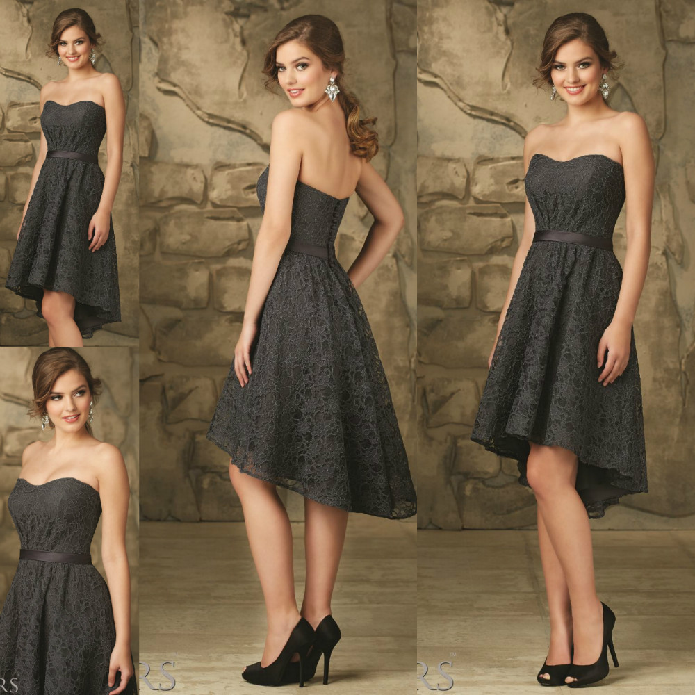 Sweetheart lace hi lo wedding guest dress charcoal bridesmaid gowns sweetheart lace hi lo wedding guest dress charcoal bridesmaid gowns maid of honor a line dresses with sash in bridesmaid dresses from weddings events on ombrellifo Gallery