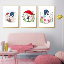 Cute Cartoon Pink Mushroom Flowers Girl Princess Room Canvas Painting Art Abstract Print Poster Picture Wall Home Decoration