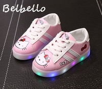 Belbello Boys Girls Luminous LED Shoes Children Flats Kid Shoes Cartoon Hello Kitty Fashion Casual Loop