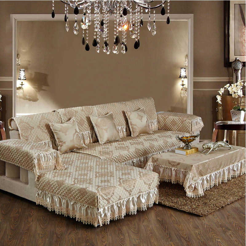 European Style Luxury Sofa Cover With Lace Single Double Three Seater Factory Directing