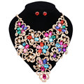 African Beads Jewelry Sets Rhinestones Flower Pendant Necklace Earrings Crystal Wedding Bridal Party Dress Accessories