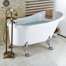 Latón Antiguo Montado En el Piso Cuarto de Baño Bath Clawfoot Tub Filler Grifo de Ducha de mano De pie