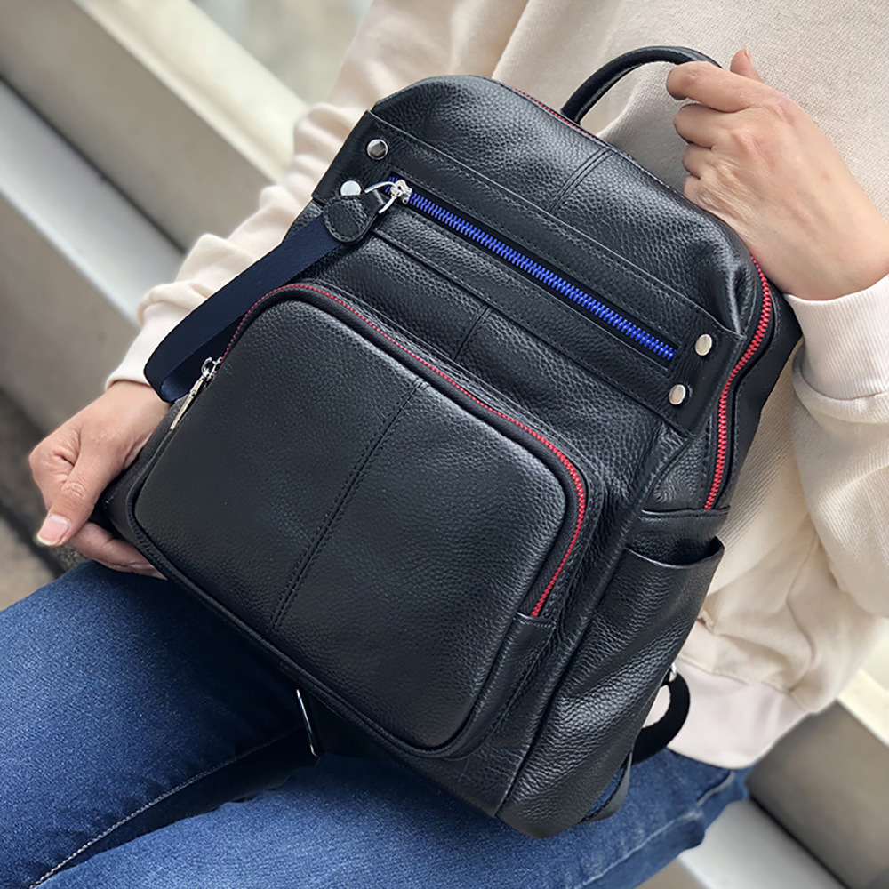 ZKW Genuine Leather Women large capacity Travel  Bag 2019 New Top Layer Cowhide Korean Fashion Casual Backpack Travel Bags-in Backpacks from Luggage & Bags    2