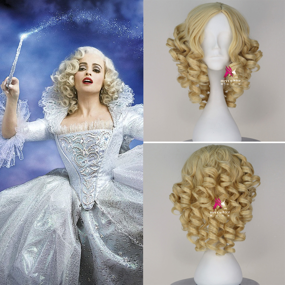 Fairy Godmother Cosplay Wig 2015 Cinderella Short Curly Blonde Gold Synthetic Hair for Adult