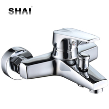 SHAI Bathtub Mixer Good Quality Brass Body Electroplat Shower Faucets Adjust Air Bubble Spout Bath Faucet Cold And Hot Water Tap
