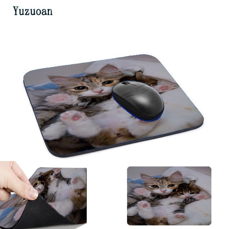 Yuzuoan Cute Cat Picture Anti-Slip Laptop PC Mice Pad Mat Mouse pads For Optical Laser Mouse Gamer Mousepad size For 18*22cm
