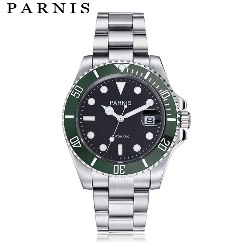 Parnis Mechanical Automatic Watch Mens Watches 40mm Ceramic Diving <font><b>100m</b></font> Steel mekanik erkek kol saati reloj automatico image