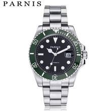 Parnis Mechanical Automatic Watch Mens Tritium Watches 40mm Ceramic Diving 100m Steel mekanik erkek kol saati reloj automatico