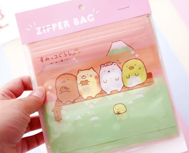 Image 4 - 1pack cute Japanese Anime Sumikko Gurashi Corner Creature Self sealing bag Anime Cosmetics Travel storage bag Figure Toys-in Action & Toy Figures from Toys & Hobbies
