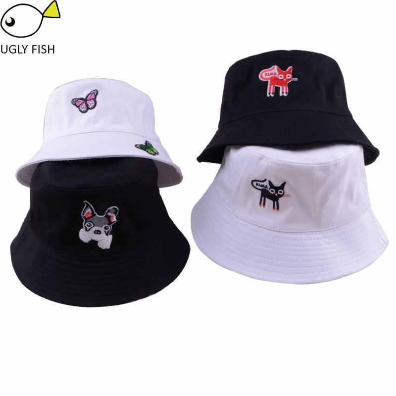 a00476203c8 bucket hat hip hop hiking outdoor panama bob hat bucket summer harajuku cute  dog cat butterfly