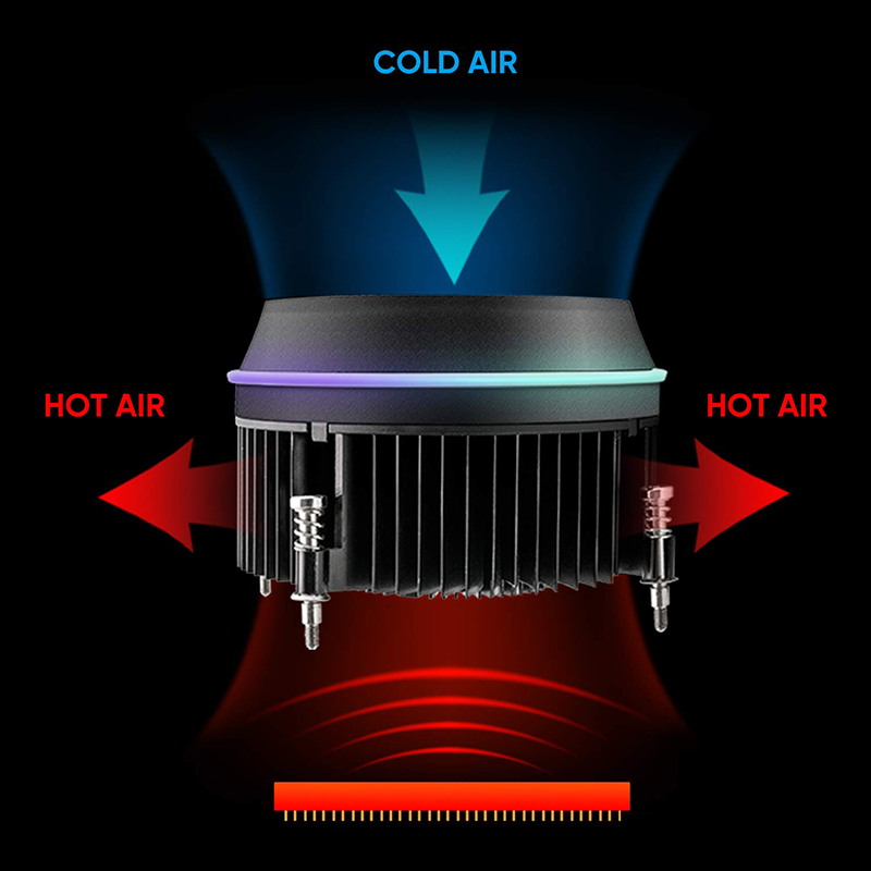 Image 3 - darkFlash Shadow CPU Cooler AURA SYNC Cooling Double Ring LED Fan PWM 100mm 4 pin Radiator for intel Core i7 LGA 115x TDP 280WFans & Cooling   -