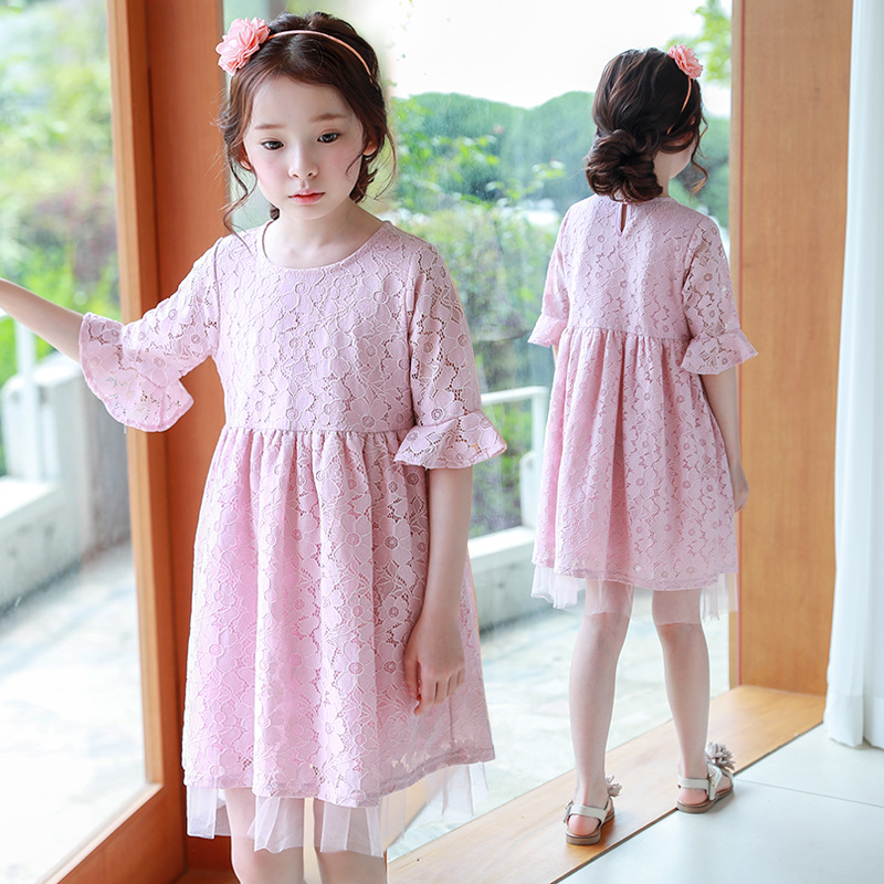 pink lace petal sleeve children girl princess dresses clothing for teenagers kid party dress baby girls costumes new 2018 summer 2017 new girls dresses for party and wedding baby girl princess dress costume vestido children clothing black white 2t 3t 4t 5t