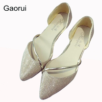 GAORUI New Women Sexy Flats Pointed Toe Silver Golden Lady Crystal Glitter Party Shoes Slip On