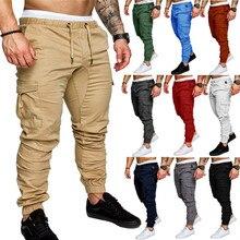 Однотонные брюки большой Размеры M-4XL мульти карман хип-хоп шаровары, штаны для бега Штаны мужчины брюки мужские кроссовки Брендовые мужские штаны