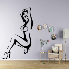 Beauty sexy woman Wall Stickers Decorative Sticker Home Decor Living Room Bedroom Removable For Kids Rooms 1 set empty continuous ink system ciss d type for hp 711 for hp designjet t120 t520 printer with chip