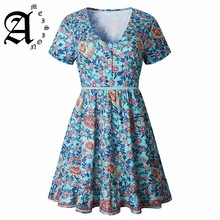 Ameision 2019 New Women Bohemian Print Short Sleeve Summer Sexy Button Slim Mini Casual deep V-neck Beach Dresses Vestidos