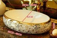 Овальный Ванная комната Lavabo Керамика столешницей умывальника гардероб ручная роспись сосуд Раковина 5051
