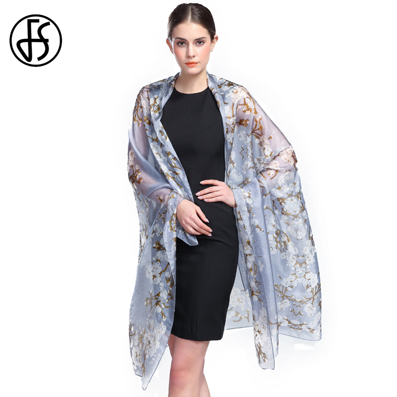 FS Bufanda Echarpes Hijab Chinese 100 Silk Scarves For Woman Scarfs Summer Stoles Luxury Wrap Shawls Pattern Ladies High Quality